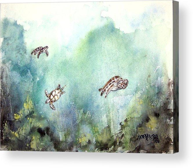 Turtle Acrylic Print featuring the painting 3 Sea Turtles by Derek Mccrea