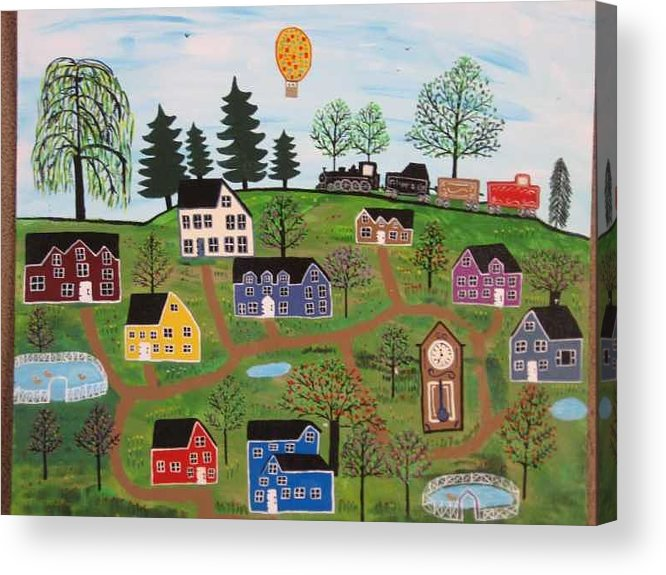 Folk Art Village Acrylic Print featuring the painting A Beautiful Day in Deltalareah Wexla by Mike Filippello
