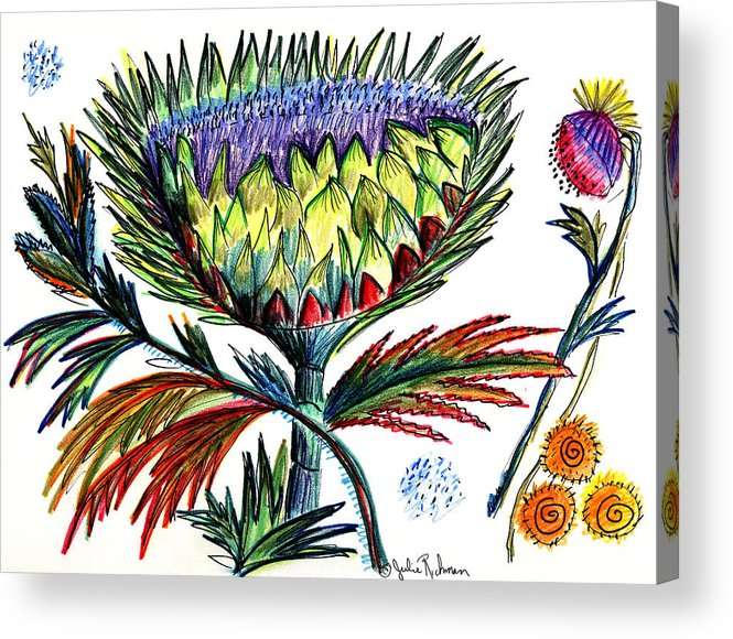 Flowers Acrylic Print featuring the painting A Thistle by Julie Richman