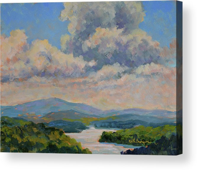 Oil Acrylic Print featuring the painting Above Lake Burton by Keith Burgess