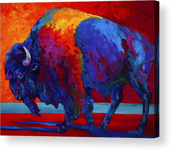 Bison Acrylic Print featuring the painting Abstract Bison by Marion Rose