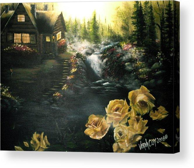 Alaska Alaskan Summer Yellow Roses Cabin Scenery Acrylic Print featuring the painting Alaskan Summer Day by Verna Coy