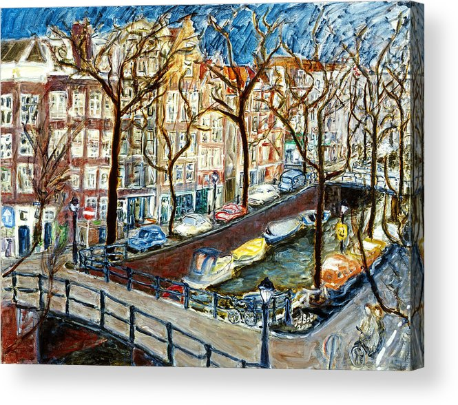 Cityscape Amsterdam Canal Trees Bridge Bicycle Water Sky Netherlands Boats Acrylic Print featuring the painting Amsterdam Canal by Joan De Bot