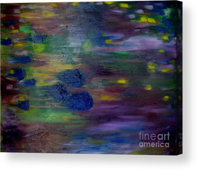 Abstract Acrylic Print featuring the painting Around the Worlds by Laurie Morgan