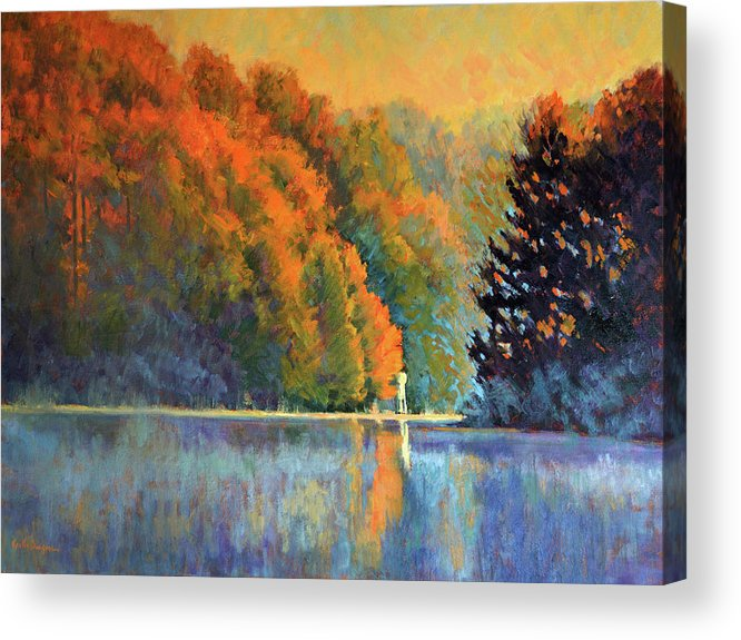Impressionism Acrylic Print featuring the painting Autumn Day Rising by Keith Burgess