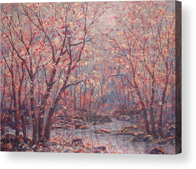 Landscape Acrylic Print featuring the painting Autumn Harmony. by Leonard Holland