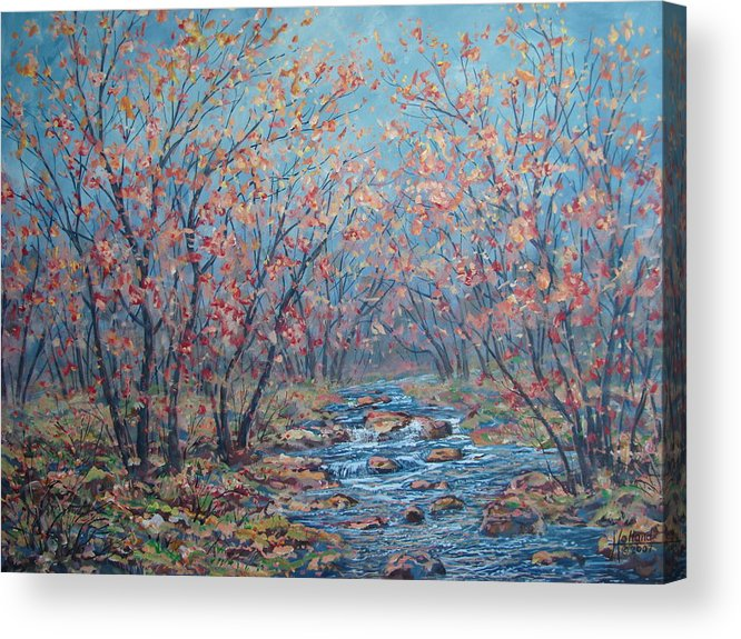 Landscape Acrylic Print featuring the painting Autumn Serenity by Leonard Holland