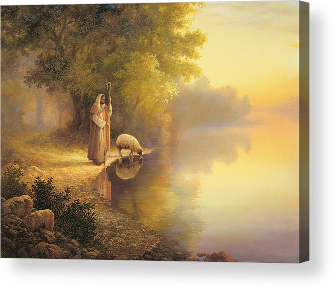 Jesus Acrylic Print featuring the painting Beside Still Waters by Greg Olsen