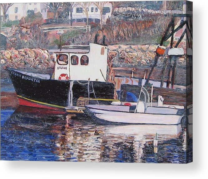 Boat Acrylic Print featuring the painting Black Boat Reflections by Richard Nowak