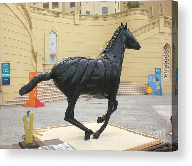 Horse Acrylic Print featuring the sculpture Black Stalion Tyre Sculpture by Mo Siakkou-Flodin