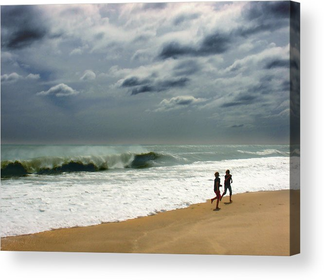 Beach Acrylic Print featuring the photograph Braving the Storm by Steve Karol