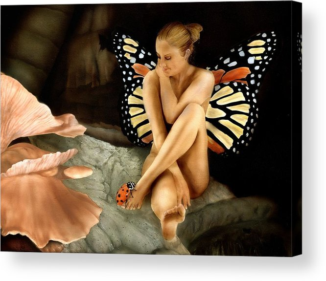 Faeries Acrylic Print featuring the painting Bug Me by Charles Parks