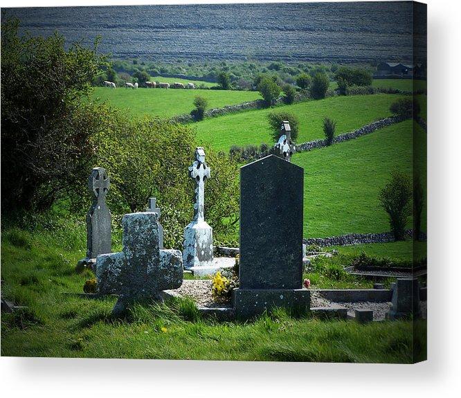 Irish Acrylic Print featuring the photograph Burren Crosses County Clare Ireland by Teresa Mucha