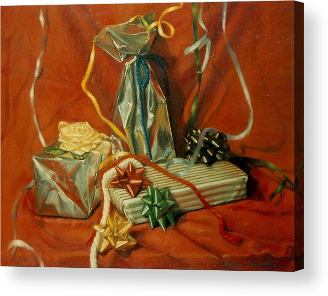 Red Acrylic Print featuring the pastel Celebration by Constance Drescher