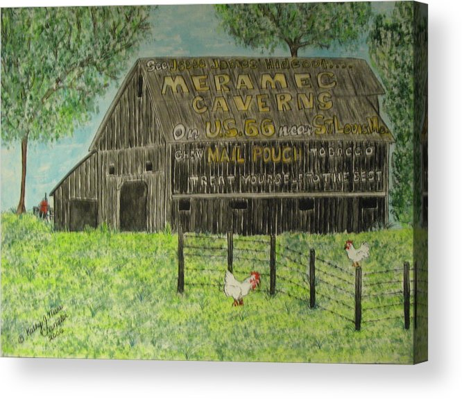Chew Mail Pouch Acrylic Print featuring the painting Chew Mail Pouch Barn by Kathy Marrs Chandler