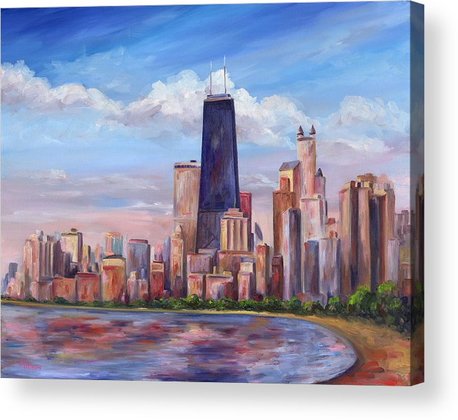 Chicago Acrylic Print featuring the painting Chicago Skyline - John Hancock Tower by Jeff Pittman