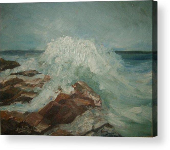 Ocean Surf Rocks Seascape Acrylic Print featuring the painting Coastal Waters by Joseph Sandora Jr