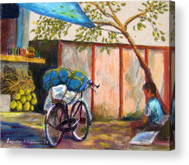 India Acrylic Print featuring the painting Coconut Stand by Art Nomad Sandra Hansen