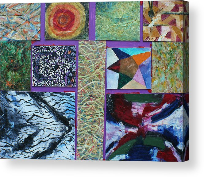 Abstract Images Collage Acrylic Print featuring the painting Collage with clown by Biagio Civale