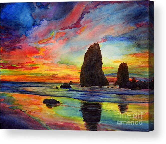Sunset Acrylic Print featuring the painting Colorful Solitude by Hailey E Herrera