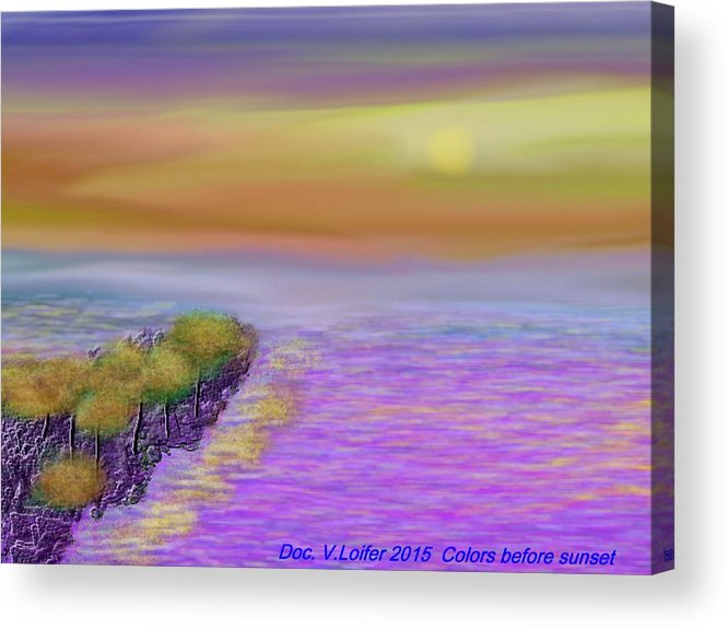 Colors Sea Sky Sun Trees Waves Reflects Acrylic Print featuring the digital art Colors before sunset by Dr Loifer Vladimir