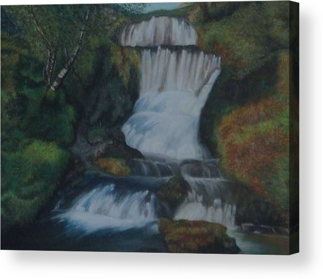 Waterfall Acrylic Print featuring the painting Cool waters by Nellie Visser