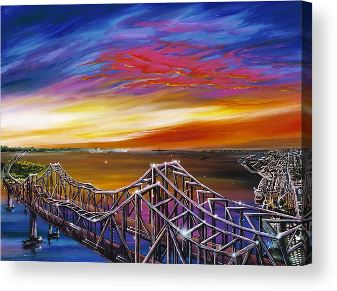Clouds Acrylic Print featuring the painting Cooper River Bridge by James Christopher Hill