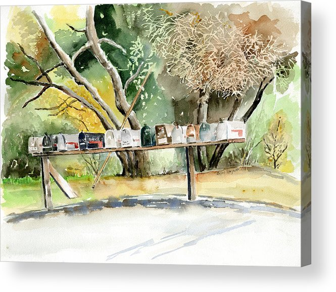Mailboxes Acrylic Print featuring the painting Country Mailboxes by Arline Wagner