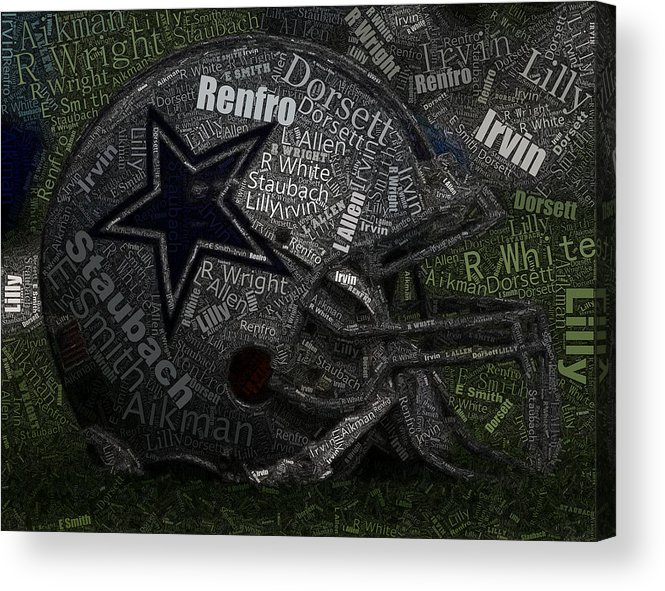 Dallas Cowboys Acrylic Print featuring the painting Cowboys Greatest Players Mosaic by Paul Van Scott