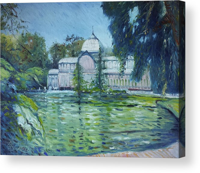 Landscapes Acrylic Print featuring the painting Crystal Palace Madrid Spain 2016 by Enver Larney