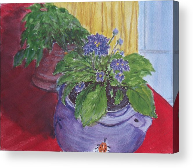 Still Life Acrylic Print featuring the painting Dads Violets by Pete Maier