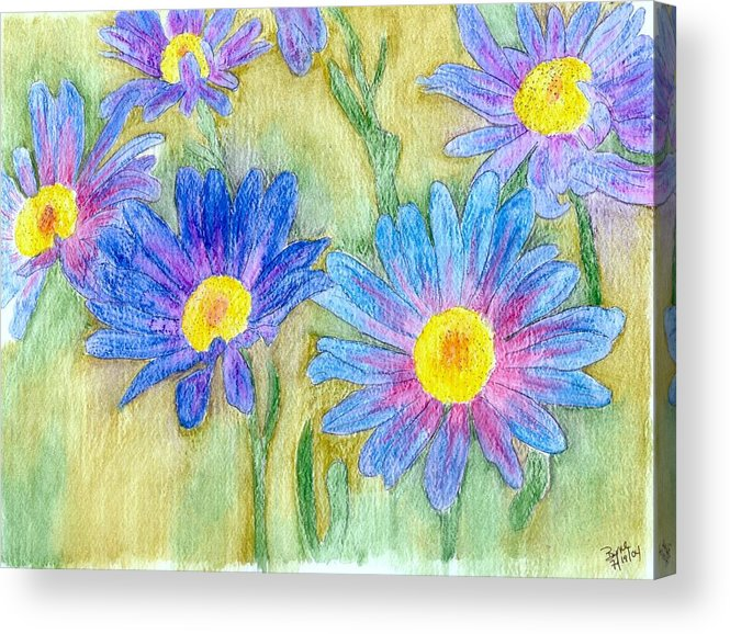 Flowers Acrylic Print featuring the painting Daisey Field by Margie Byrne