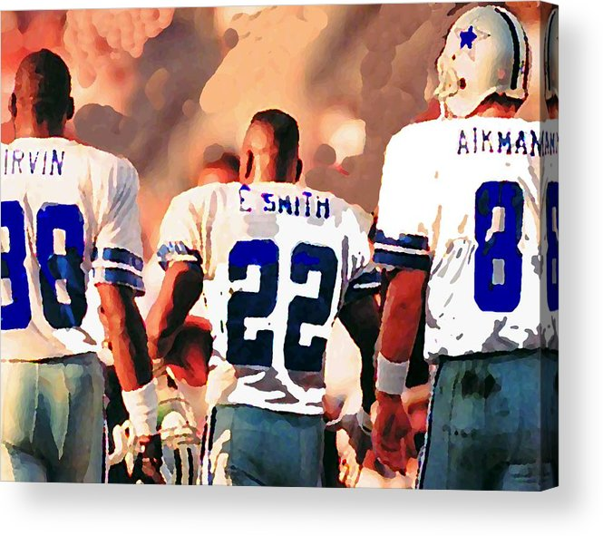Dallas Cowboys Acrylic Print featuring the mixed media Dallas Cowboys Triplets by Paul Van Scott