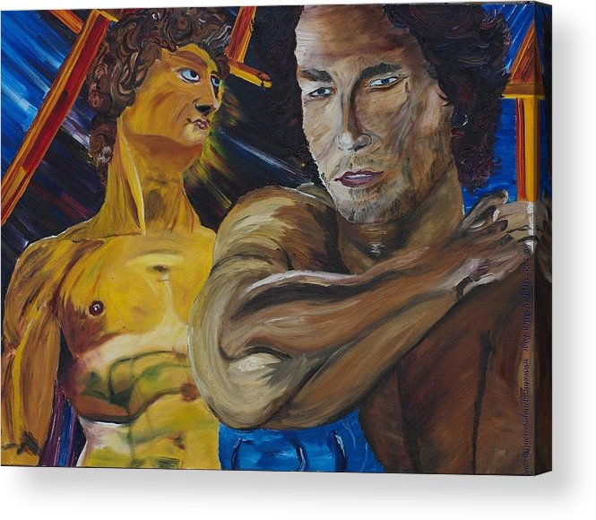 The David Acrylic Print featuring the painting David v. Hollywood by Modern Impressionism