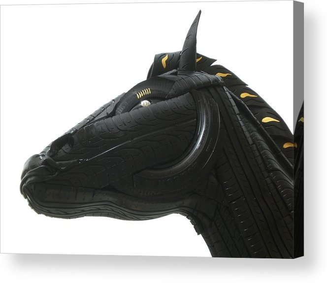 Horse Acrylic Print featuring the sculpture Detail - Tire Horse by Mo Siakkou-Flodin