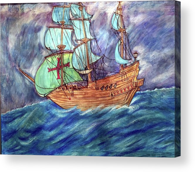 Seascape Acrylic Print featuring the painting Discovery by Marco Morales