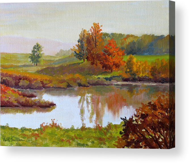 Landscape Acrylic Print featuring the painting Distant Maples by Keith Burgess
