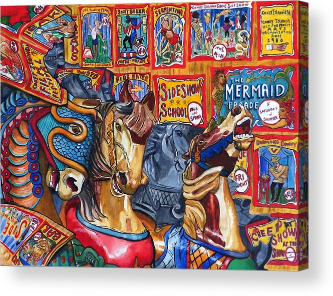 Horses Acrylic Print featuring the print Escape from Coney Island by Bette Gray