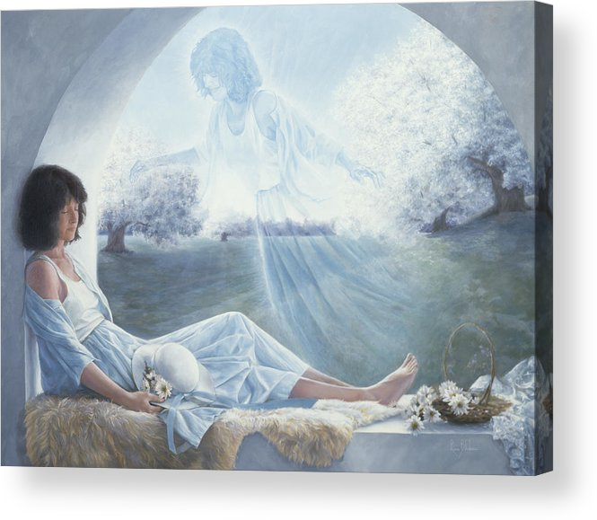 Spirituality Acrylic Print featuring the painting Exterior to One's Body by Lucie Bilodeau