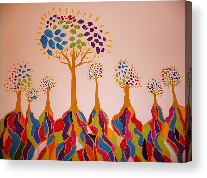 Trees Acrylic Print featuring the painting Fantasy Trees by Debra LaBar
