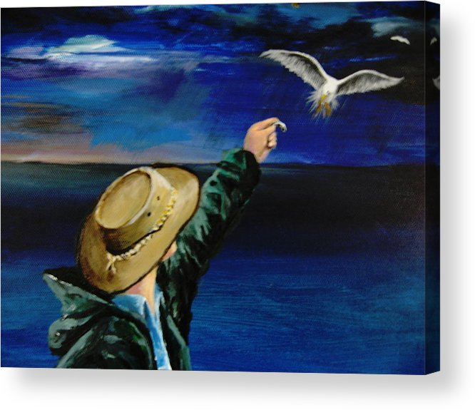 Seagull Acrylic Print featuring the painting Feeding My Gull Friend by Larry Whitler