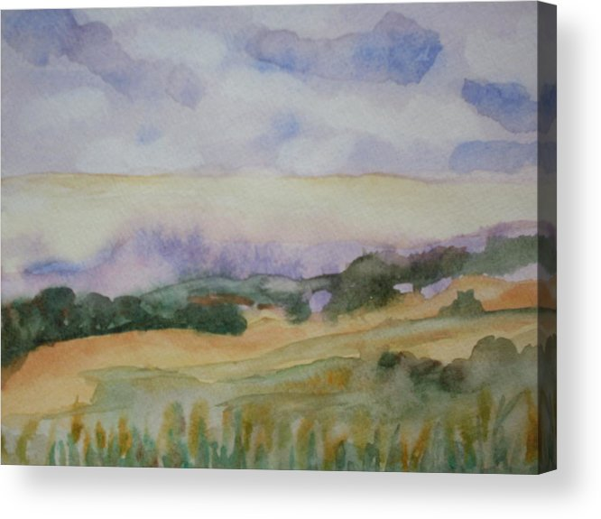 Watercolor Landscape Acrylic Print featuring the painting Field and Sky 1 by Warren Thompson