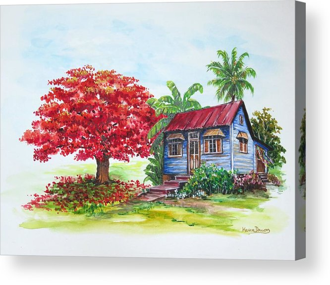 Trinidad House Acrylic Print featuring the painting Flamboyant And House by Karin Dawn Kelshall- Best