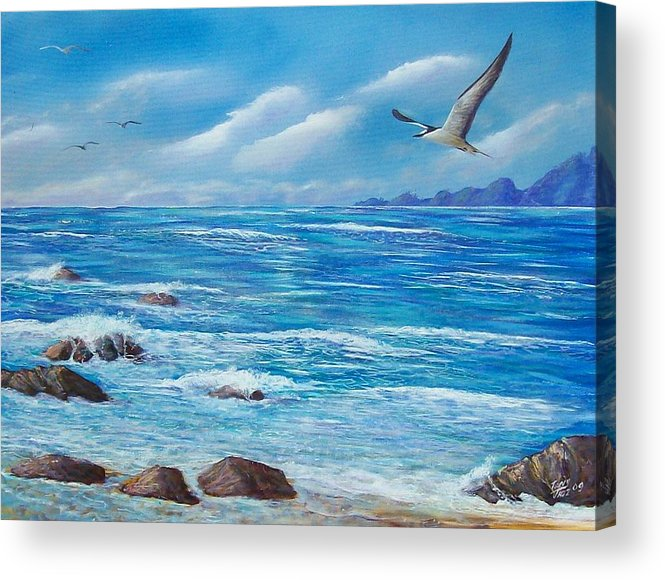 Seascape Acrylic Print featuring the painting Flight Seascape by Tony Rodriguez