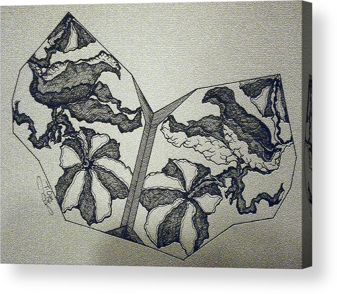 Fossil Acrylic Print featuring the digital art Flower Fossil by Tammera Malicki-Wong