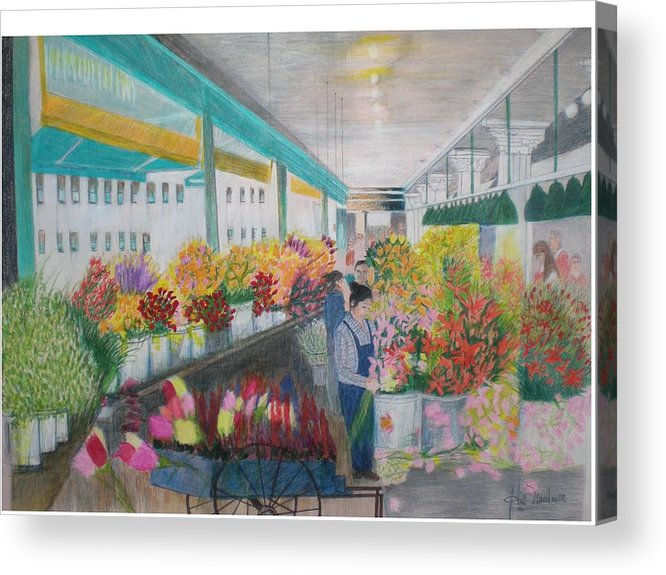 Open Air Street Flower Market Acrylic Print featuring the painting Flower Market by Hal Newhouser