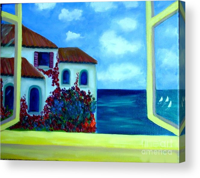 Seascape Acrylic Print featuring the painting Fresh Sea Air by Laurie Morgan
