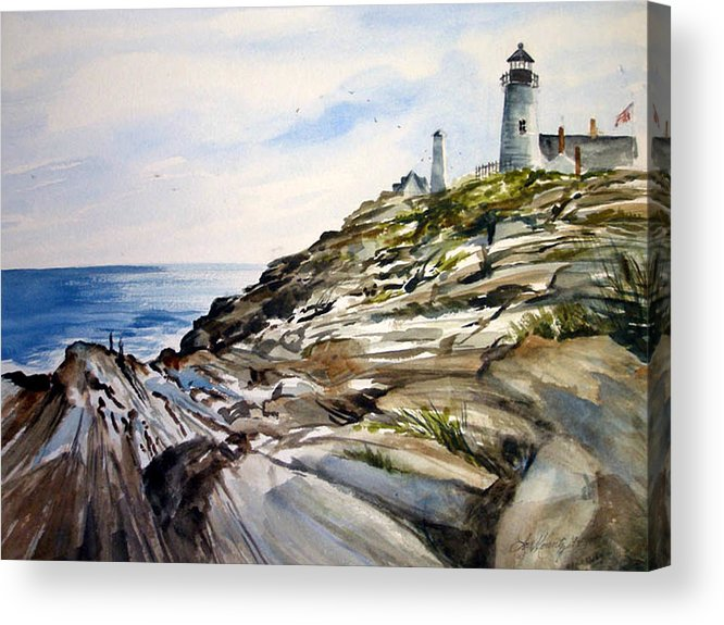 Pemaquid Light House;rocks;ocean;maine;pemaquid;light;lighthouse; Acrylic Print featuring the painting From the Rocks Below by Lois Mountz