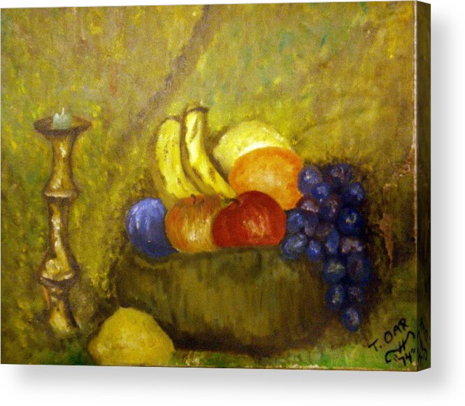 Still Life Acrylic Print featuring the painting Fruitbowl And Candle by Tammera Malicki-Wong