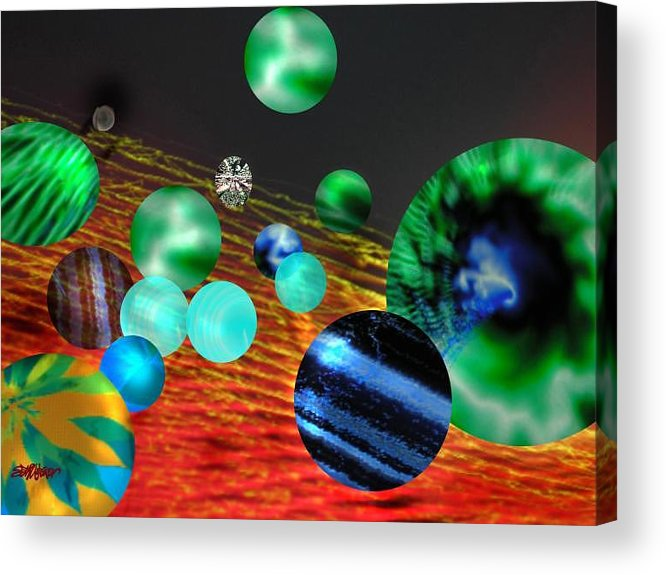 A Tribute To Donovan And His Song cosmic Wheels. A Line In The Song...god Is Playing Marbles With Acrylic Print featuring the digital art God Playing Marbles Tribute To Donovan by Seth Weaver